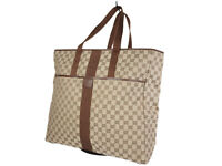 GUCCI GG Web Canvas Leather Browns Large Tote, Shoulder Bag GT2621