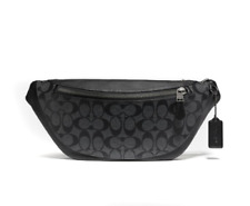 New Authentic Coach F78777  Belt Bag In Signature Canvas Charcoal/Black