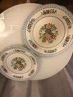 PAIR OF CROPLAND SPODE DINNER PLATES BLUE WHITE CHECK TRIM FLORAL CENTER