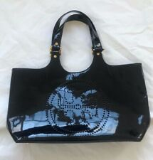 VGUC Authentic Black Patent Leather TORY BURCH Peforated Logo Tote Bag