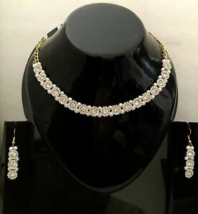 Indian Bollywood Gold Tone CZ  Wedding Fashion Jewelry Pearl Necklace Set M-4