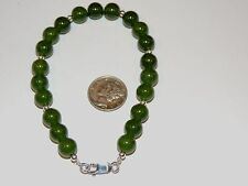 "Sterling Silver and 8mm Jade Bracelet 8 1/4"" (7861)"