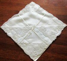 Beautiful Vintage Wedding Hankie ~ Scalloped Edge White Floral Embroidery Design