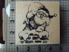 "Penny Black Wood mounted rubber Stamp ""Roof Top Santa"" Chimney & Toy sack (2006)"