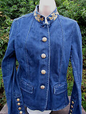 Womens Denim Jacket Oscar an Oscar De La Renta Company Jean Beaded 10