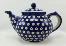 Bunzlauer Keramik Teekanne, Kanne für 1,3Liter Tee, blau/weiß, Blumen (C017-70M)