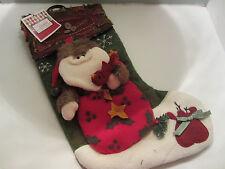 "20"" Christmas Stocking Green Santa Claus 3D - NWT"