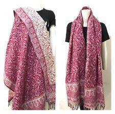 UNISEX Tibetan 100% Yak Wool Shawl,WRAP,Hand loomed Reversable purple pink scarf