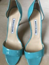 MANOLO BLAHNIK Turquoise Catalina Patent Leather D'Orsay Pump / Sandal