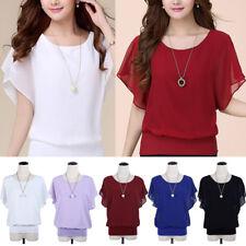 Women Summer Chiffon Short Sleeve Blouse Shirts Loose Batwing Solid Tops Plus