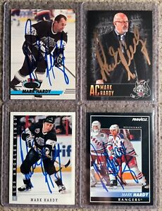 4 MARK HARDY SIGNED HOCKEY CARDS AUTOGRAPHED NHL KINGS RANGERS WOLVES COACH AHL