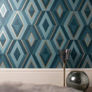 Teal and Gold Shard Geometric Diamond Wallpaper FD42609