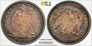 1875 PCGS XF45 Colorful Toned Seated Liberty Half Dollar/TrueView (rb2256)