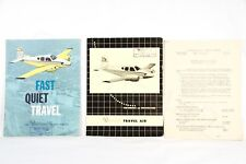 BEECHCRAFT Vintage OEM TRAVEL AIR Brochure Equipment Rare 1958 USA Lot of 3 Gift