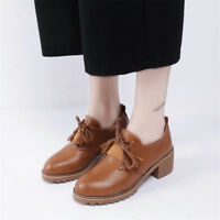Retro Women Oxfords Block Mid Heels Tassel Lace Up Round Toe Casual Shoes Size 8