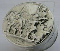 SUPERB VICTORIAN ENGLISH SOLID STERLING SILVER CHERUB SNUFF BOX 1896 ANTIQUE 50g