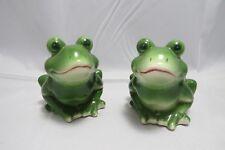 Salt & Pepper Shaker Set  Collectible Frogs Ceramic Green