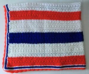 Handmade Patriotic Crocheted Afghan Sofa Throw Blanket Red White Blue