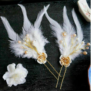 Lolita Girls White Feather Hair Clasp Chinese Style Costume Cosplay Hairpin