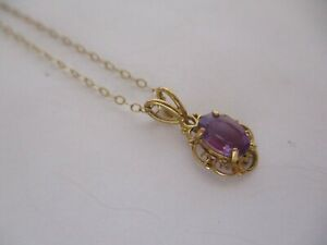"""9ct Yellow Gold Amethyst Pendant on 17"""" 9ct Chain Necklace Hmk/d"""