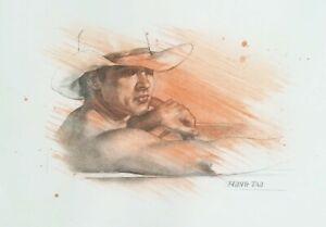 ORIGINAL Charcoal drawing  portrait of cowboy artwork