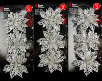 Set Of 9 Glitter Poinsettia Clip On Christmas Craft / Tree Decorations - SILVER