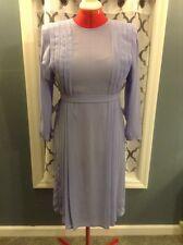"Vintage ""Bits & Pieces Ltd."" Lilac Sheer Chifon Pleated Tie Belt Dress Sz 8"
