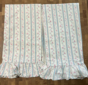 Ralph Lauren Lillian Blue Ruffled King Pillowcases Set of Two EUC!