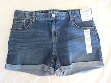 Cat & Jack Girls Plus Shorts Cuffed Adjustable Waist Med Wash XXL (18)  #7077