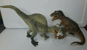 Lot of 2 Papo T-rex & Spinosaurus Dinosaur  05', 07' Articulated Jaws - READ