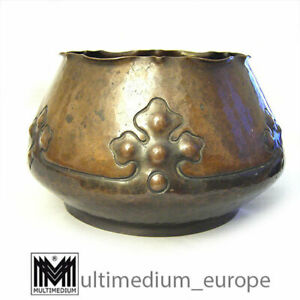 Antique Arts and Crafts copper pot Kupfer Blumen Über Topf Handarbeit 1900 rare