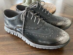Cole Haan Women's Zerogrand 8 B Wingtip Oxford Gray suede Ivory sole