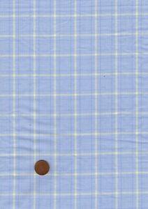 100% Cotton Fabric Windowpane  Check Pale Blue Yellow White Patchwork Craft