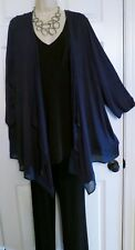 NEW Slinky Draping Chiffon Hem Jacket Top Lane Bryant Plus 26/28 3X/4X Dark Blue
