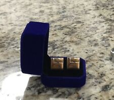 Vintage Swank Goldtone Square Cufflinks With Etched Diamond Corner Design