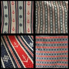 "VTG Nautical Fabric Red Blue White Stripe Anchor 4 Yds 45"" Craft Sewing Project"