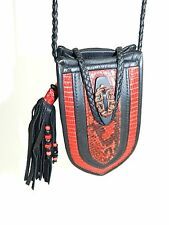Handmade Leather Pouch Red Black