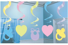 5 X Large Blue Baby Boy Party/shower Hanging Swirl Decorations