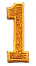 """NUMBERS-Golden Yellow Number """"1"""" (1 7/8"""") - Iron On Embroidered Applique/Numbers"""