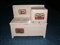 VINTAGE 1940-50S MARX PRETTY MAID METAL TOY OVEN  STOVE