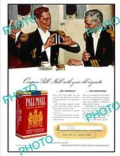 OLD LARGE HISTORIC ADVERTISING POSTER, PALL MALL CIGARETTES c1940s