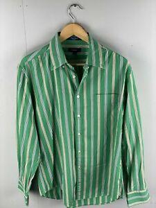 GANT Kings Poplin Men's Long Sleeve Shirt - Size Large - Green Stripe
