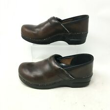 Dansko Slip On Clogs Wedge Comfort Shoes Round Toe Leather Brown Womens 40