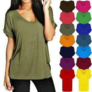 Womens Ladies Baggy V Neck Batwing Turn Up Sleeve Loose Fit Oversize T-Shirt Top