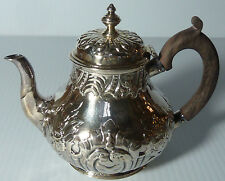 ENGLISH STERLING SMALL TEAPOT W/ ROCOCO REPOUSSE  OVERALL, WOOD HANDLE, DOME LID