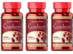 Cranberry Fruit Concentrate Pills with Vitamin C &E 4200mg 3X100=300 Softgels