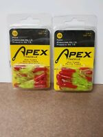 """(2)APEX TACKLE 15 PACK MINI TUBE PANFISH CRAPPIE BAIT 1.5""""-CHRT/RED"""