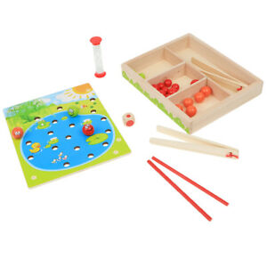 Wooden Beads Clip Match Game Fine Motor Skill Educational Toy Board Puzzles