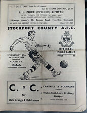 More details for stockport county v raf friendly 1958/59