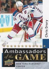 2009-10 UD #AG42 CHRIS DRURY Ambassadors of the Game NY Rangers Insert Hocke
